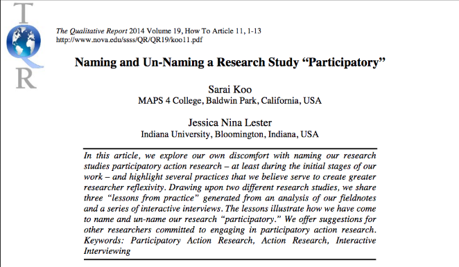 "Naming/Un-Naming a Research Study ""Participatory"""