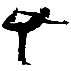Silhouette of a person holding his leg
